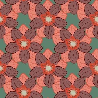 Padrão sem emenda desenhada de mão com elementos de flor de botão de anêmona rosa. fundo verde pálido. ilustração vetorial para estampas de têxteis sazonais, tecidos, banners, cenários e papéis de parede.