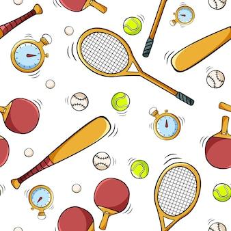 Padrão sem emenda desenhada de mão com equipamentos esportivos em estilo de desenho de doodle