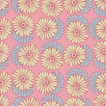 Padrão sem emenda desenhada de mão com formas contornadas de girassóis. fundo rosa pastel. estampa floral fofa. ilustração vetorial para estampas de têxteis sazonais, tecidos, banners, cenários e papéis de parede.