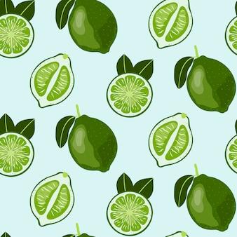 Padrão sem emenda desenhada de mão com fruta limão.