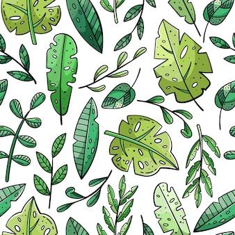 Padrão sem emenda desenhada de mão com rabiscos. folhas e plantas.