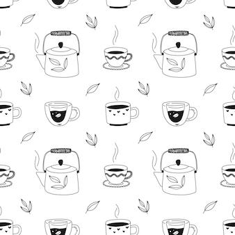 Padrão sem emenda desenhada de mão com xícaras de chá, bule, ervas. ilustração a preto e branco para embalagem, tecido, papel de parede.