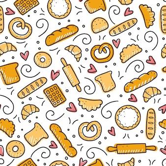 Padrão sem emenda desenhada de mão de elementos de padaria. estilo doodle.