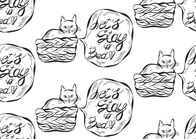 Padrão sem emenda desenhada de mão de gato no pottle com balão e frase vamos ficar na cama