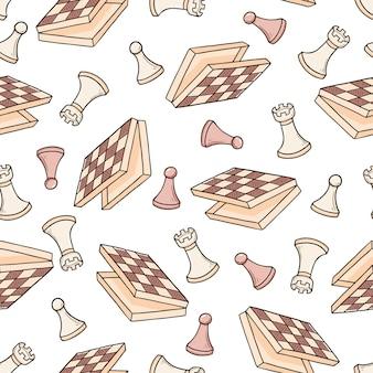 Padrão sem emenda desenhada de mão de peças do jogo de xadrez dos desenhos animados. estilo de desenho do doodle.
