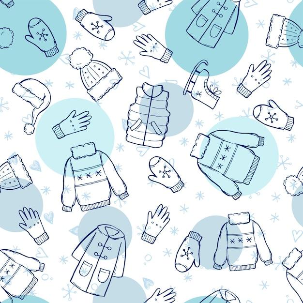 Padrão sem emenda desenhada de mão de roupas de inverno e acessórios: chapéu, cachecol, casaco, luva, sapatos, suéter. esboço de estilo doodle para crianças, papel de parede de natal, plano de fundo. ilustração isolada do vetor.