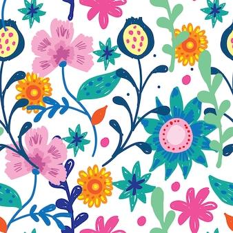 Padrão sem emenda desenhada de mão floral fofo
