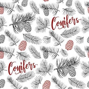 Padrão sem emenda desenhado à mão coleção de floresta de ramos de coníferas e pinhas desenho de cone de abeto