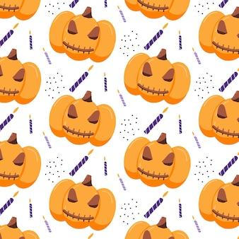 Padrão sem emenda desenhado à mão com abóbora de halloween um padrão com uma abóbora sinistra e velas