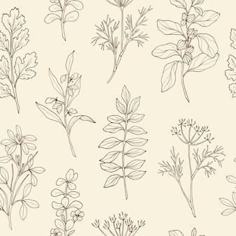 Padrão sem emenda desenhado à mão com ervas e especiarias ayurvédicas