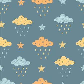 Padrão sem emenda desenhado à mão com nuvens bonitos, estrelas em um fundo cinza.