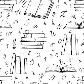 Padrão sem emenda desenhado à mão de livros sobre fundo branco. fundo preto e branco do vetor.