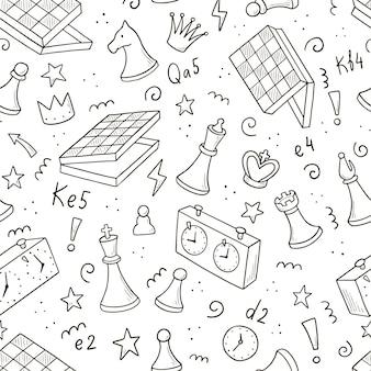 Padrão sem emenda desenhado à mão de peças de xadrez de desenho animado