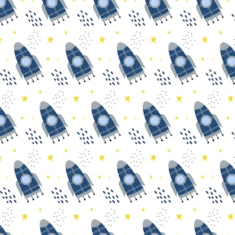 Padrão sem emenda desenhado à mão infantil com padrão de foguete e estrelas