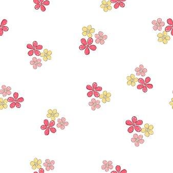 Padrão sem emenda desenhado à mão lindas flores design de fundo de impressão para têxteis e ornamento de tecido
