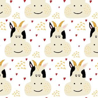 Padrão sem emenda desenhado à mão para crianças com uma vaca padrão com uma vaca e corações