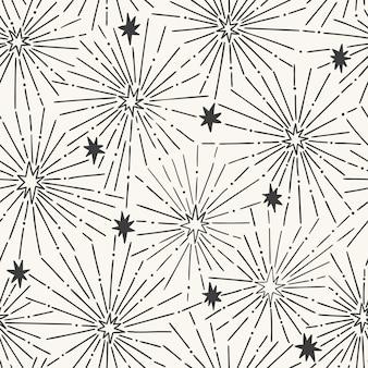 Padrão sem emenda desenhados à mão com estrelas decorativas
