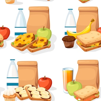 Padrão sem emenda diferentes almoços com sacos de papel, sanduíches, bebidas e frutas.