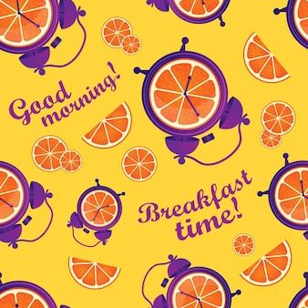 Padrão sem emenda divertido com laranjas e despertadores hora do café da manhã acorde, bom dia