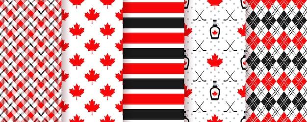 Padrão sem emenda do canadá. texturas de feliz dia do canadá. conjunto de estampas canadenses. ilustração em preto vermelho.
