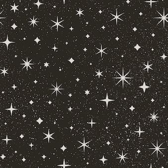 Padrão sem emenda do céu estrelado à noite. fundo do vetor do espaço. abstrata textura preta com estrelas e pontos brancos.