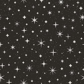 Padrão sem emenda do céu estrelado à noite. fundo do vetor do espaço. textura abstrata preta com estrelas e pontos brancos para impressão em tecidos, papel de embrulho, papéis de parede