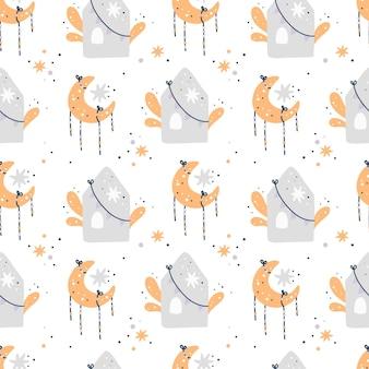 Padrão sem emenda do chuveiro de bebê com lua, estrelas e casas. padrão infantil