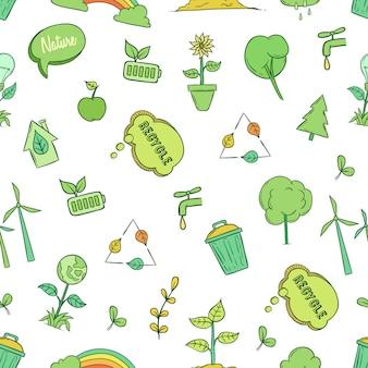 Padrão sem emenda do conceito de ecologia e meio ambiente com estilo doodle