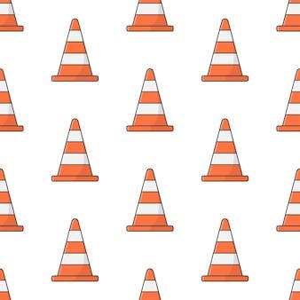 Padrão sem emenda do cone de tráfego em um fundo branco. ilustração em vetor de tema de estrada