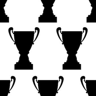 Padrão sem emenda do copo troféu vencedor. textura de silhueta simples preta. prêmio do campeonato para o primeiro lugar. ilustração vetorial.