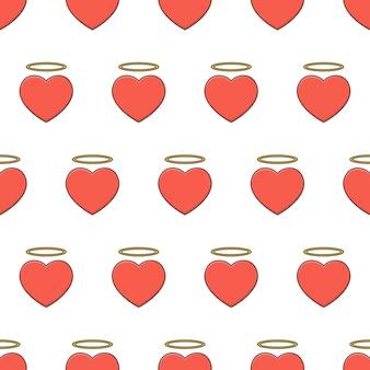 Padrão sem emenda do coração do anjo em um fundo branco. ilustração em vetor tema coração vermelho