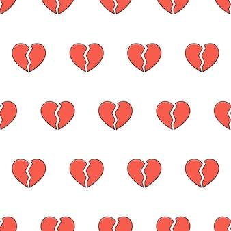Padrão sem emenda do coração quebrado em um fundo branco. ilustração em vetor love heart theme