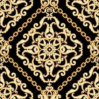 Padrão sem emenda do damasco. bege dourado na textura preta com correntes.