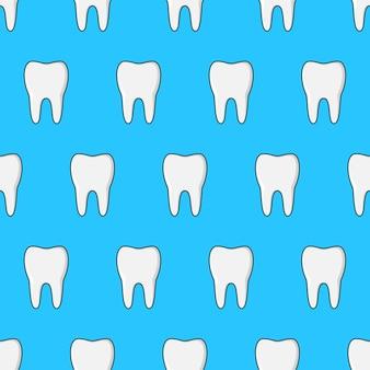 Padrão sem emenda do dente em um fundo azul. ilustração em vetor de tema de dentes limpos