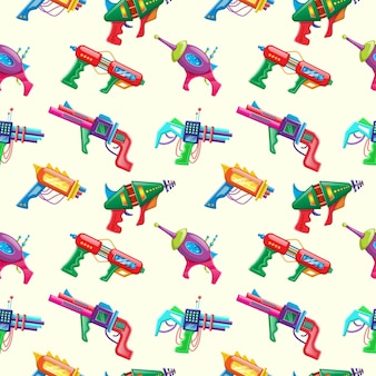 Padrão sem emenda do estilo dos desenhos animados de vetor de blasters coloridos de crianças.