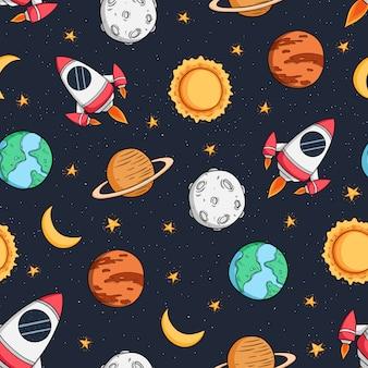 Padrão sem emenda do foguete espacial, planeta e estrela com estilo colorido doodle