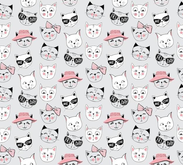 Padrão sem emenda do gato da moda do vetor. ilustração de gatinho fofo no estilo de desenho. fundo de animais dos desenhos animados. doodle kitty. ideal para tecido, papel de parede, papel de embrulho, têxtil, roupa de cama, impressão de t-shirt.