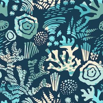 Padrão sem emenda do mar do vetor com texturas desenhadas mão