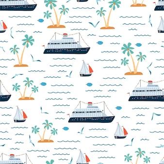 Padrão sem emenda do mar infantil com navio de cruzeiro, veleiro, palmeira em estilo cartoon. textura bonita para quarto de crianças.