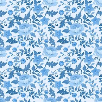 Padrão sem emenda do ornamento da flor monocromática azul.