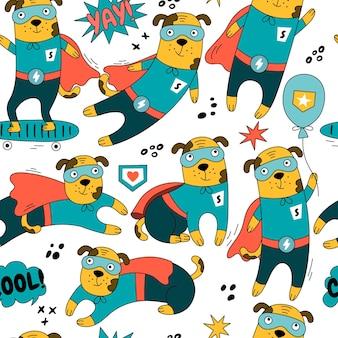 Padrão sem emenda do personagem cão herói em diferentes poses de ilustração