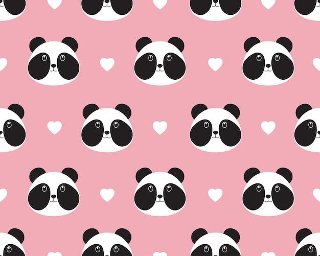 Padrão sem emenda do rosto de panda bonito com coração