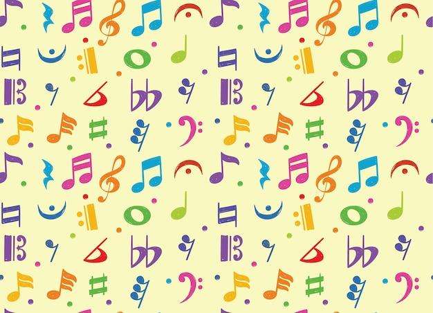 Padrão sem emenda do símbolo do doodle da nota musical