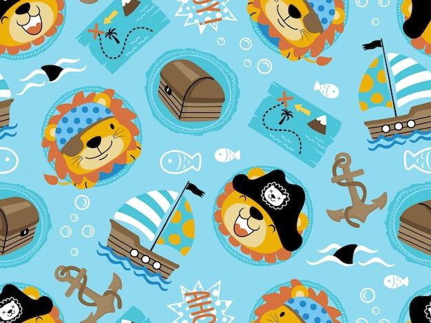 Padrão sem emenda do tema engraçado pirata conjunto dos desenhos animados