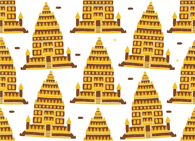 Padrão sem emenda do templo de prambanan em estilo design plano