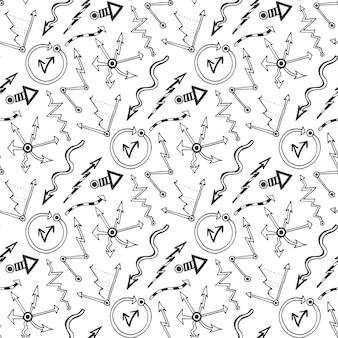 Padrão sem emenda do vetor com setas doodles e elementos do diagrama. esboço preto e branco para apresentações empresariais. papel de parede, preenchimento de padrões, têxtil, fundo da página web, textura da superfície
