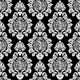 Padrão sem emenda do vetor damasco. ornamento de damasco à moda antiga de luxo clássico, papéis de parede vitorianos reais