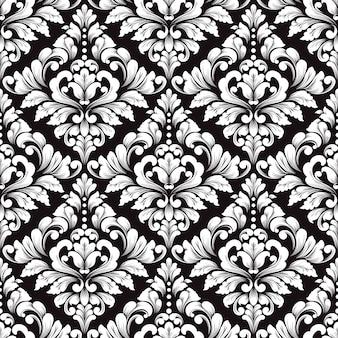 Padrão sem emenda do vetor damasco. ornamento de damasco à moda antiga de luxo clássico para papéis de parede