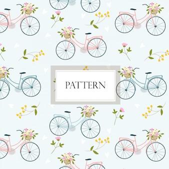 Padrão sem emenda doce de bicicleta e flor