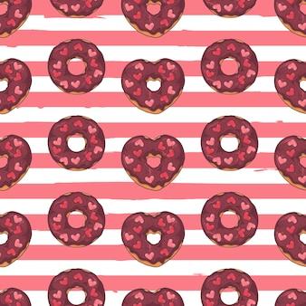 Padrão sem emenda. donuts vitrificados decorados com coberturas, chocolate, nozes.